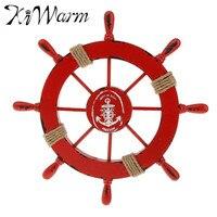 1PC Mediterranean Nautical Red Wooden Anchor Boat Ship Wheel Wall Plaque Nautical Beach Rudder Home Wall Decor Party Decoration