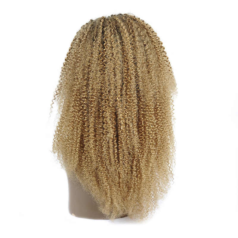 Parlayan Yıldız Ombre 1B 27 Bal Sarışın Kinky Kıvırcık Dantel Ön İnsan Saç Peruk Siyah Kadınlar Için Olmayan Remy Brezilyalı dantel Peruk
