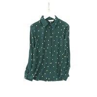 100% natural silk Blouses floral printed Long Sleeve Real Silk Chiffon Blouse Tops for women Casual Shirts dark green Blouses