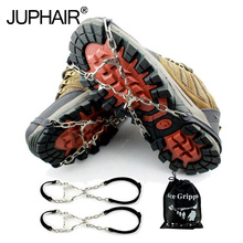 New 6 Teeth Claws Crampons Non-slip Shoes Cover Stainless Steel Chain Outdoor Ski Ice Snow Hiking Climbing Grippers With Sripe
