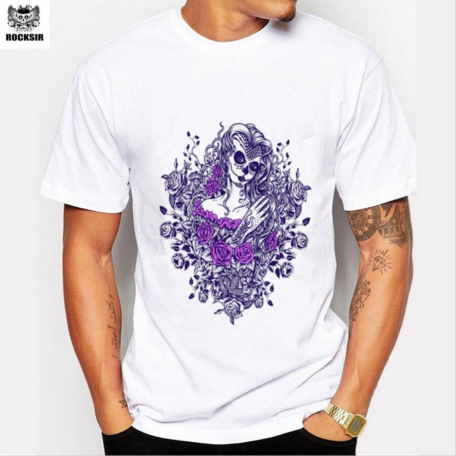 Desain t shirt unik - Rocksir Fashion Pria Lengan Pendek Purple Mermaid Printing T Shirt Boy Lucu Tops Tee Baru