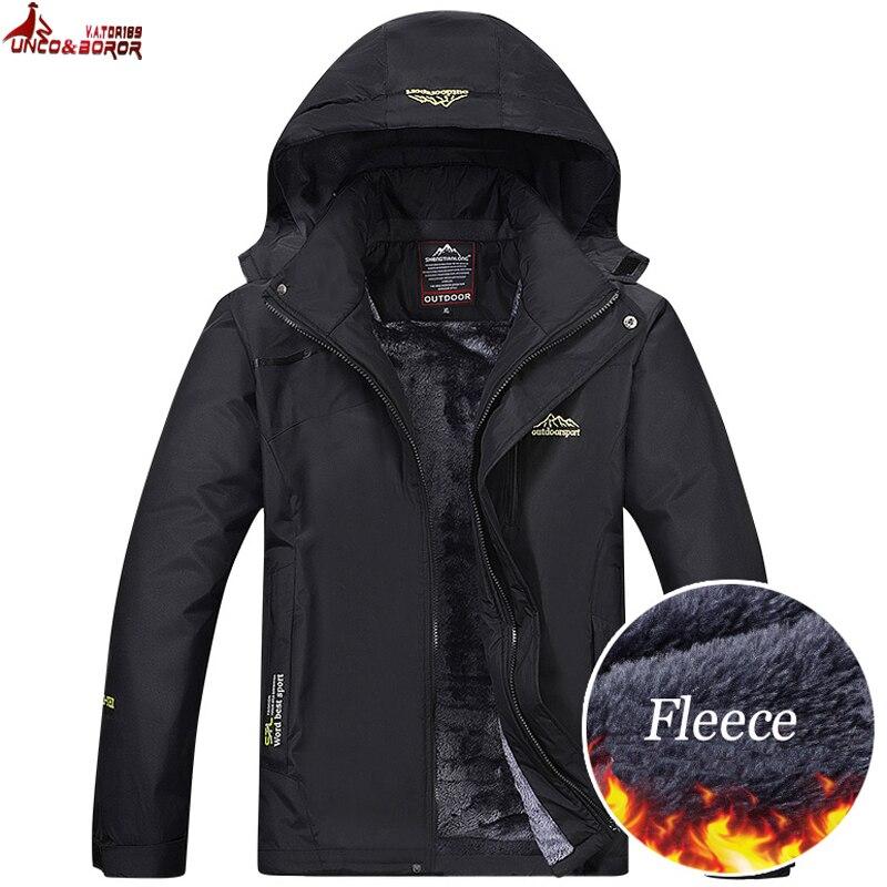 UNCO y BOROR chaqueta de invierno los hombres prendas cazadora y chaqueta impermeable hombre más grueso terciopelo cálido con capucha de los hombres chaqueta casual abrigo