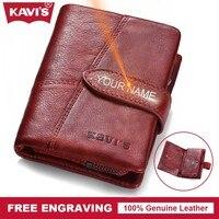 KAVIS Genuine Leather Wallet Female Women Small Coin Purse Walet Portomonee Mini Gift For Lady Money