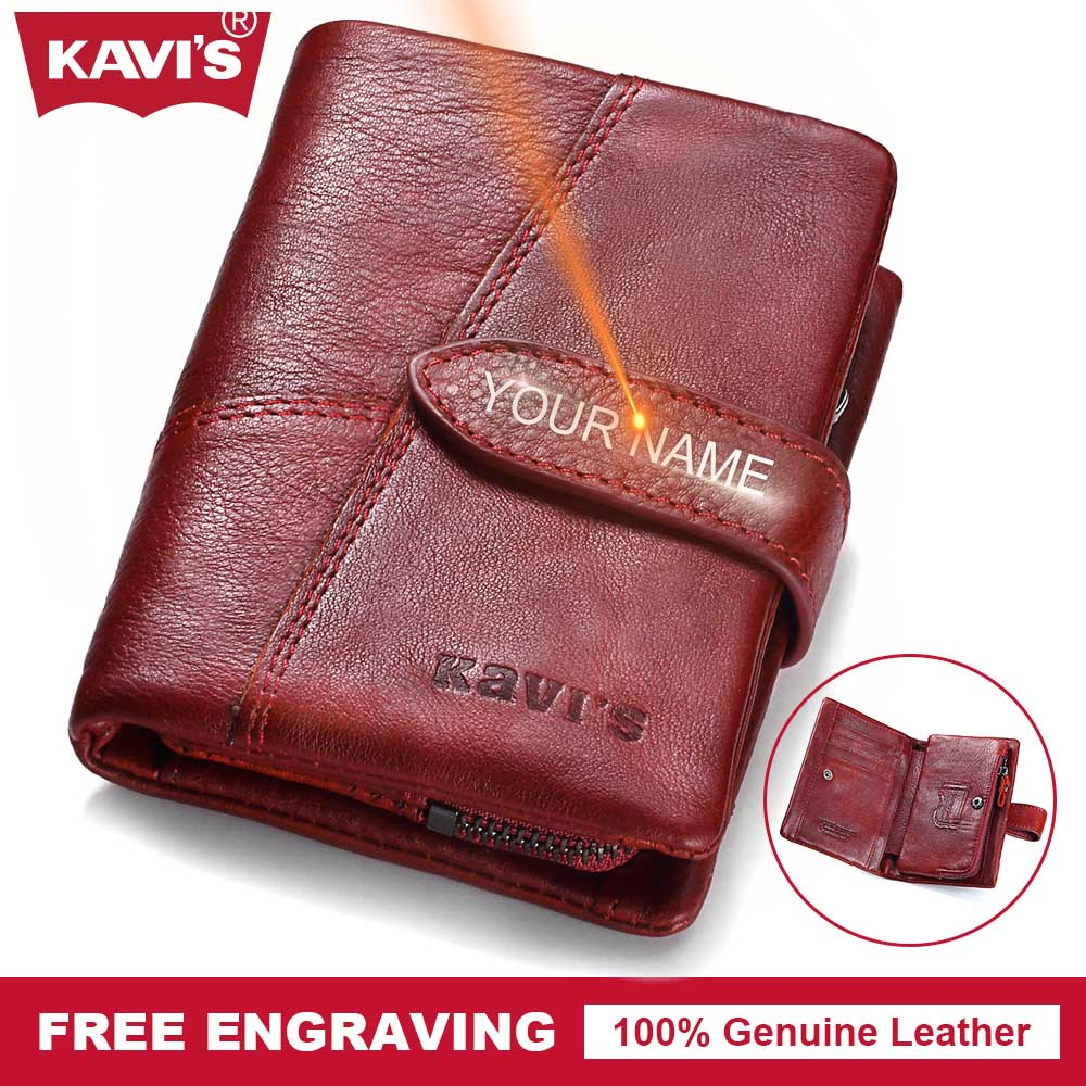 KAVIS Genuine Leather Wallet Female Women Small Coin Purse Walet Portomonee Mini Gift for Lady Money Card Holder Magic Vallet gzcz genuine leather female zipper wallet women coin purse small woman walet portomonee rfid lady money bag id card holder perse