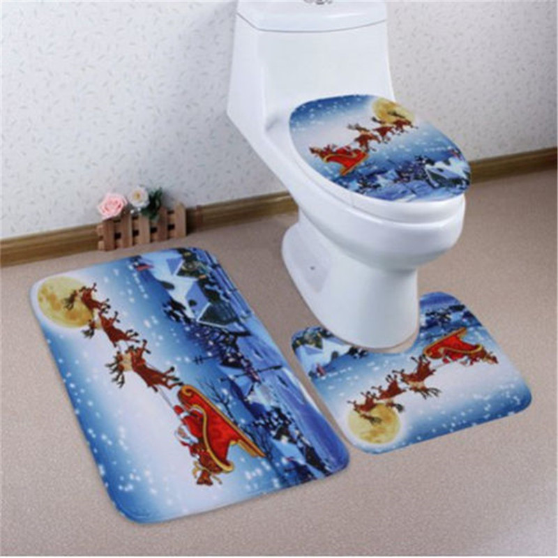 3pcsset Christmas Toilet Seat Cover Bathroom Non-Slip Santa Claus Pedestal Rug+Lid Toilet Cover+Bath Mat Toilet Seat Cover Sets