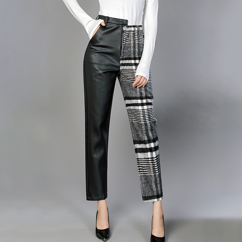 MIAOQING PU Leather Trousers For Women High Waist Hit Colors Asymmetrical Patchwork Ankle Length Wool Pants Female 2019 Spring