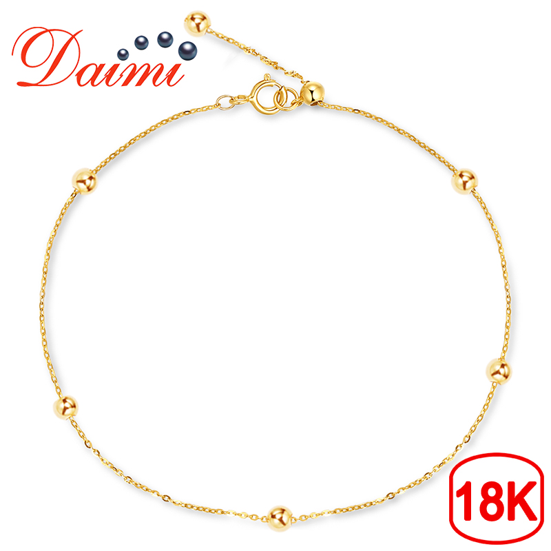 DAIMI Pure Gold Bracelet Satellite Chain 18K Yellow Gold Beads Chain Adjustable 18cm Bracelet Chain Jewelry