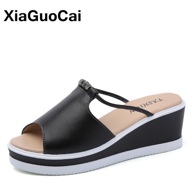 497378f645212c Summer Women s Sandals Leather Wedges Female Platform Shoes Mules Casual  Fashion Slip-On Open Toe Beach Shoes High Quality
