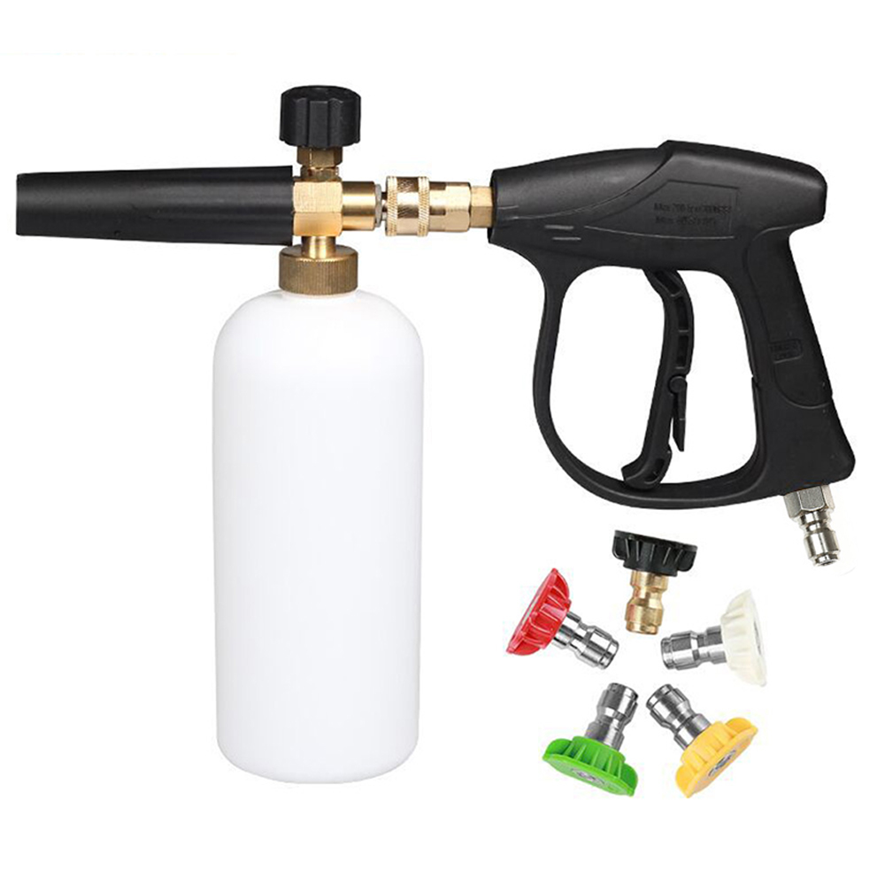 Car Washer 3/8 Quick Connector High Pressure Snow Foam Lance 1/4 Quick Release with 5 Nozzles Car Water Gun Cleaning ToolsCar Washer 3/8 Quick Connector High Pressure Snow Foam Lance 1/4 Quick Release with 5 Nozzles Car Water Gun Cleaning Tools