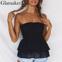 Glamaker Black polka dot ruffle hemline summer shirt Female transparent mesh  tube top Women sleeveless sexy top party tunic 2019 c80c4db3f359