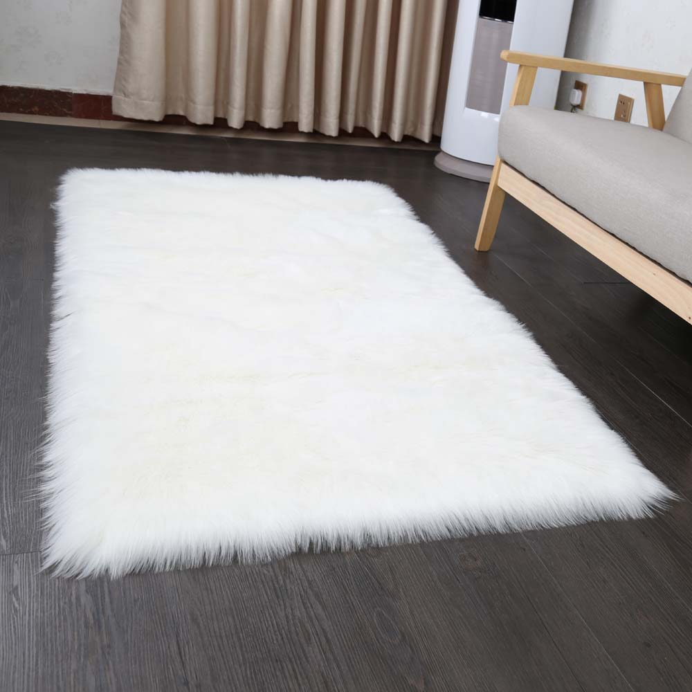 yazi Bape Luxury Rectangle Sheepskin Hairy Faux Mat Seat Pad Fur Plain Fluffy Soft Rug Carpet For Living Room