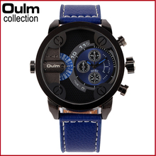 Brand Luxury OULM 3130 Mens Watches  Leather Strap 2 Time Zone Imported Japan Movt Quartz Casual Large Watch