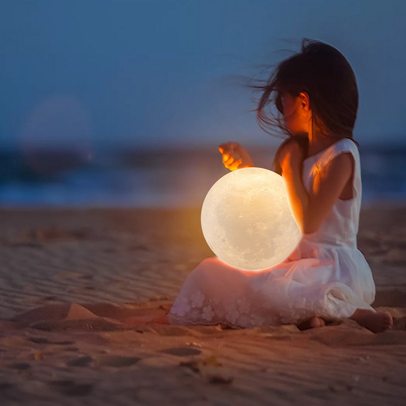 BB SPEAKER Night light Moon Lamp Warm White Moon Light 2 Color Touch Control Led 3D USB Bedroom Bookcase Decor For Baby Gift magnetic floating levitation 3d print moon lamp led night light 2 color auto change moon light home decor creative birthday gift