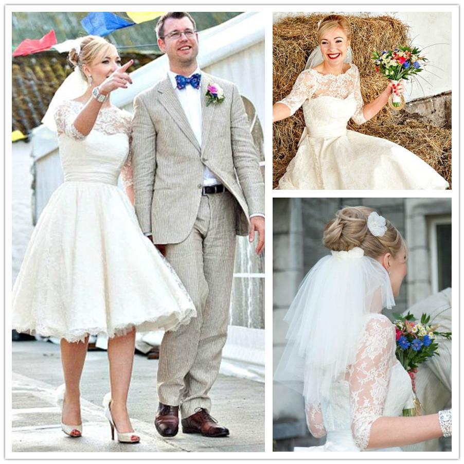 Vintage High Quality Tea Length Wedding Dresses Half Sleeves A Line Sheer Jewel Neckline Wedding Gowns Litittle Wedding Gown Платье