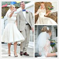 Vintage High Quality Tea Length Wedding Dresses Half Sleeves A Line Sheer Jewel Neckline Wedding Gowns Litittle Wedding Gown