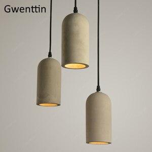 Image 3 - Cimento do vintage pingente lâmpada led retro pendurado luzes para sala de jantar café luz fixtutes industrial luminária suspensão