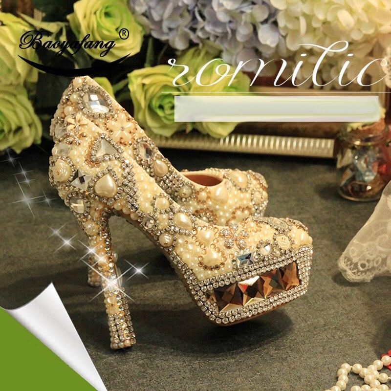 BaoYaFang nouveauté Champagne crystal femmes chaussures de mariage femme ivoire perle plate-forme chaussures de luxe chaussures hautes en cuir véritable