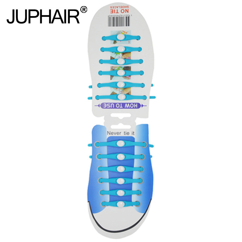 JUP1-12 Sets(12 Root/Set)Sky blue Tie Laces Shoelace Flat Elastic Silicone Men Boy Women Sneaker Sport Basketball Round Shoelace