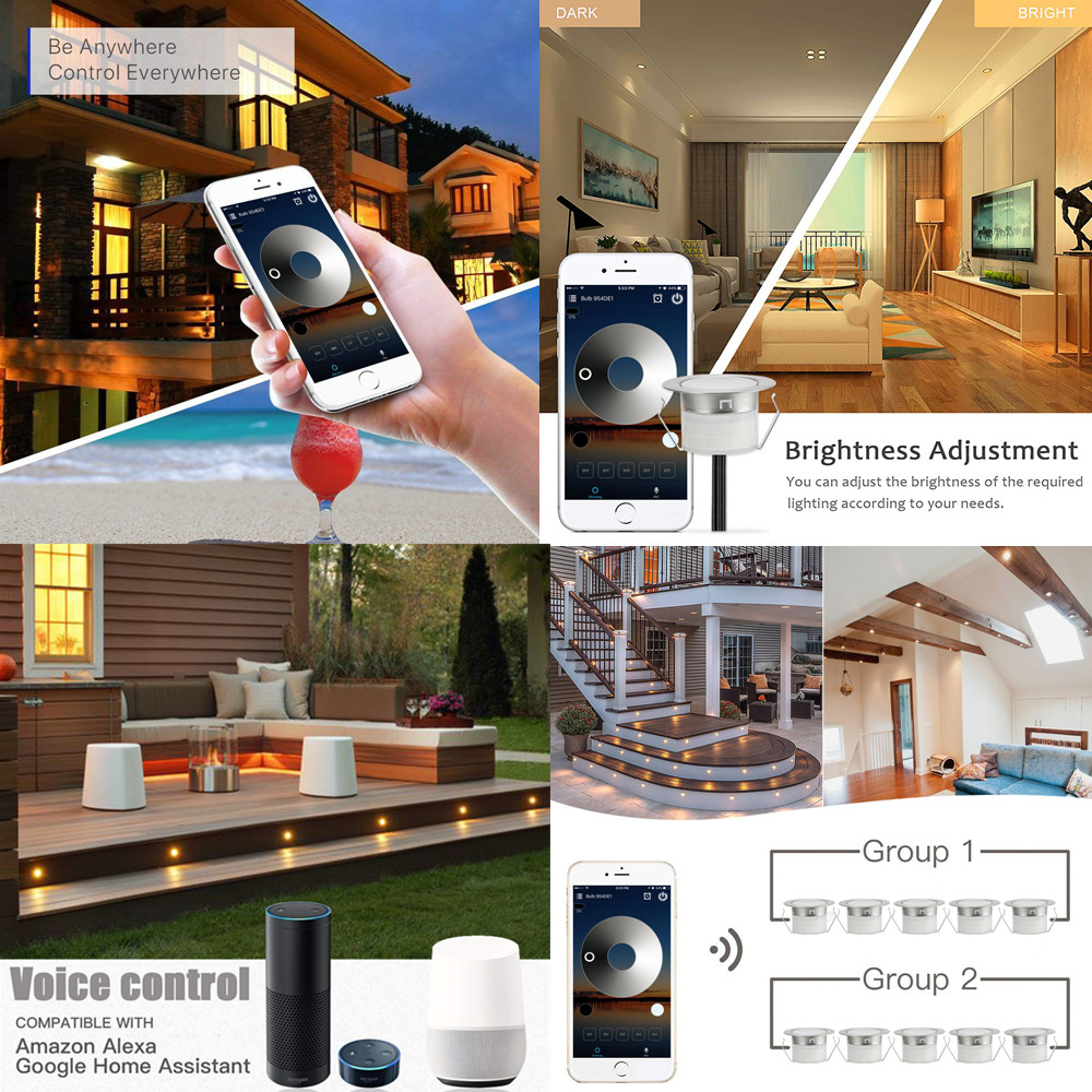 30pcs/lot 12V IP67 Stair Pathway Patio Cabinet LED Deck Rail Step Lights WIFI Controller Dimmer Timer for APP GoogleHome Alexa