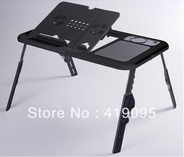 Free Shipping Multifunctional Laptop Table, Bed, Lazy Desk Folding Computer  Desk With Fan Radiator