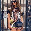 Gzdl playa de moda flojo ocasional del o-cuello de manga corta de las mujeres geométrica impreso summer dress de la gasa recta vestidos cl3093