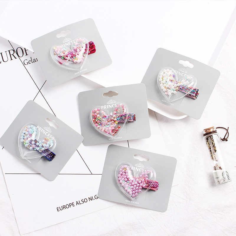Fashion Transparan Mahkota Jantung Bintang Geometri Jepit Rambut Glitter Payet Jepit Rambut Pesta Bulang Pernikahan Aksesoris Rambut