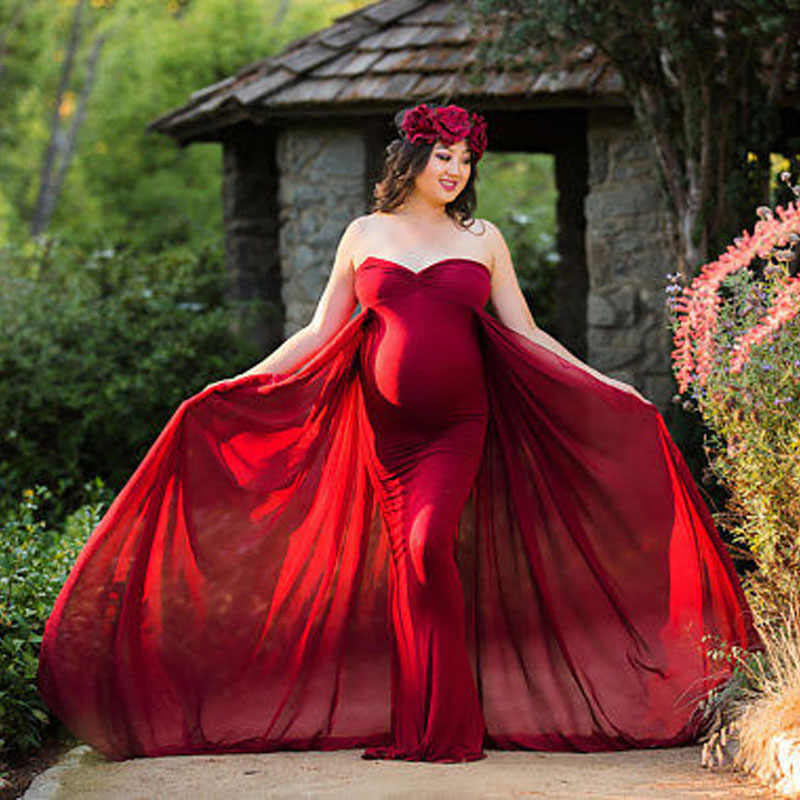 Shoulderless Maternity Dress Photo Shoot Maxi Maternity Clothes Chiffon Gown Sexy Maternity Photography Props Pregnancy Dress