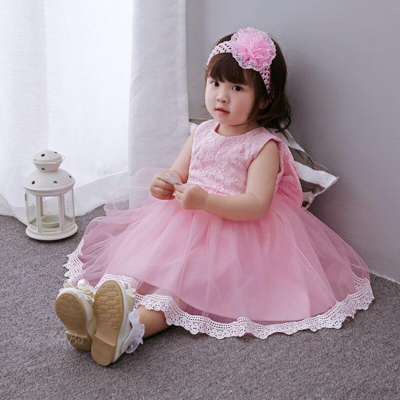 2018 Baby pink dress suit full moon age baby lace princess dress child wedding dress dress