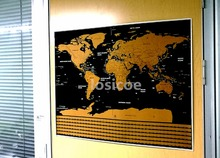 Retro Scratch Foil Layer Coating Kraft Paper Off World Map Wall Sticker Living Room Paint Bar Cafe Stickers
