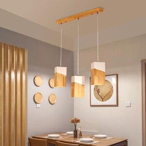 Деревянный подвесной светильник в скандинавском стиле, современный простой железный и деревянный абажур, креативный светильник для рестор...