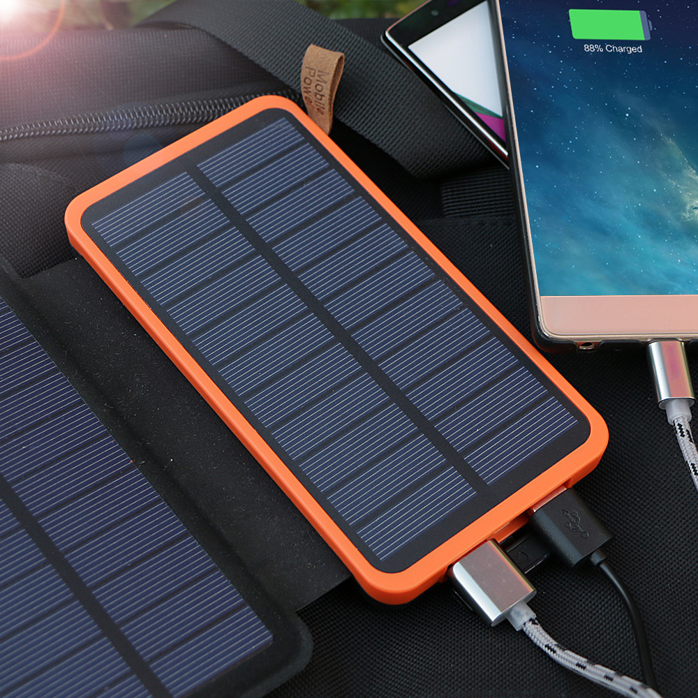 20000 mAh batterie portable solaire haute capacité réelle charge solaire batterie externe à l'extérieur utilisation pour iPhone iPad Samsung LG HTC Sony ZTE.