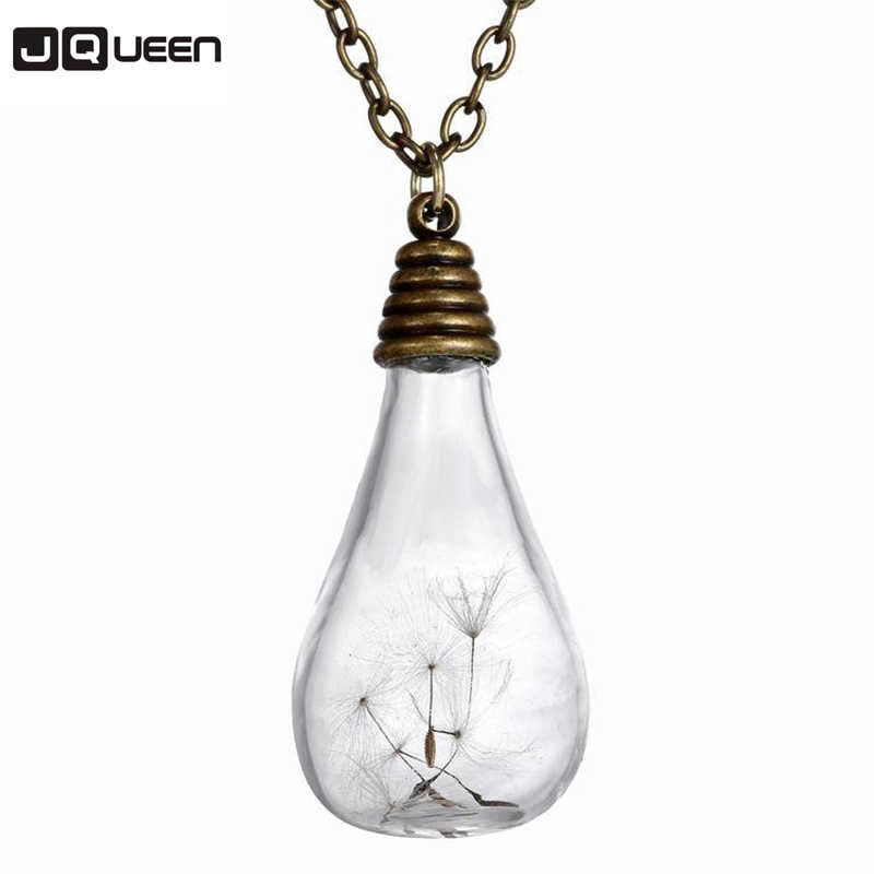 Hot Retro Light Bulb Handmade Necklace Dandelion Neck Women Long Style Chain Lady Feminino Collar
