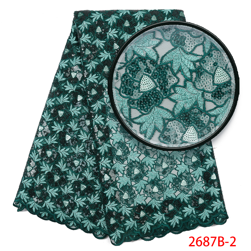 Latest African Lace Fabric French Nigerian Laces Fabrics 2019 High Quality Embroidery Tulle Lace With Stones For Women KS2687B-2