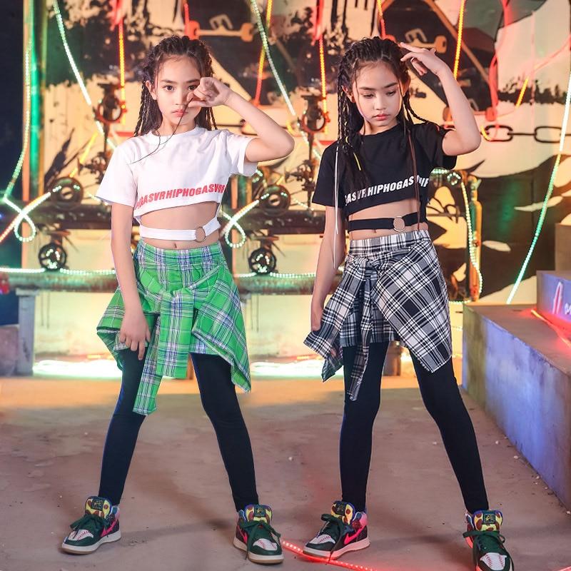 Modern Girls Boys Ballroom Jazz Hip Hop Dance Competition Costume For Kids T Shirt Tops Pantskirt Dancing Clothing Stage Outfits