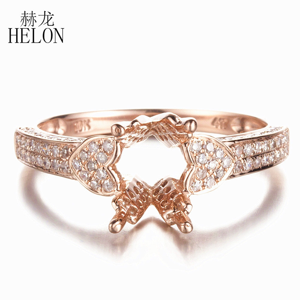 HELON 7x9mm Oval or 6x8mm Emerald Semi Mount Engagement Diamonds Ring Solid 10K Rose Gold Pave 0.45ct Natural Diamond Fine Ring vintage oval 7x9mm solid 18kt white gold diamond semi mount pendant wholesale fine jewelry for girl wp025