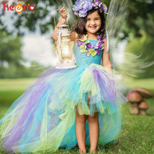 Princess Long Tail Fairy Girls Tutu Dress Water Fairy Flower Kids Party Dress for Pageant Birthday Dancing Baby Peacock Dress недорого