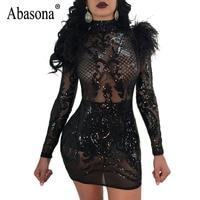 Abasona Women Evening Party Dresses Feather Embellished Sequins Dress Vintage Women Long Sleeve Bodycon Pencil Dress