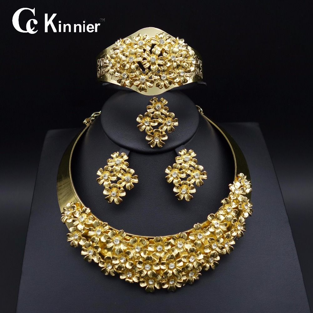 New Fashion of women Bridal Nigeria Dubai gold-color wedding jewelry set African beads jewelry Necklace Bangle Earring Ring