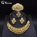 Nova Moda das mulheres Nupcial Nigéria Dubai banhado a ouro conjunto de jóias de casamento Africano jóias contas de Colar Pulseira Anel Brinco