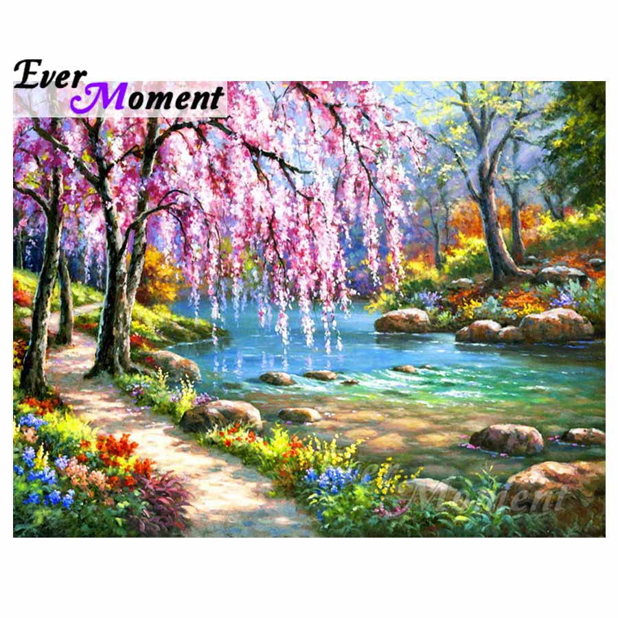 Ever Moment Diamond Painting Scenery Trees River Pink Flowers Nature 5D DIY Picture Mosaic Diamond Embroidery Full Square S2F235Ever Moment Diamond Painting Scenery Trees River Pink Flowers Nature 5D DIY Picture Mosaic Diamond Embroidery Full Square S2F235