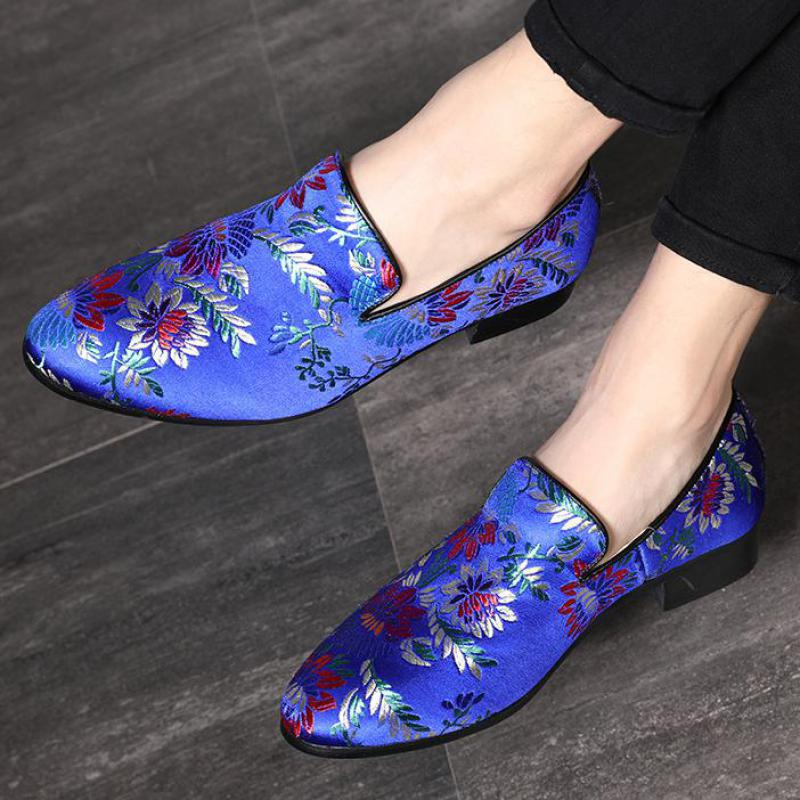 Shoes Loafers Flower Embroidery Plus-Size Dress Wedding-Shoe Slip-On Flat Designer Mens