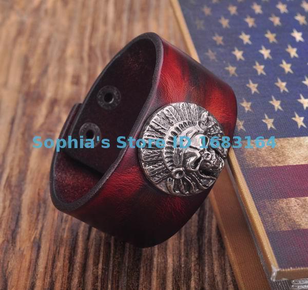 5befa35993c0a HM03 Dark Red Cool Biker Tribal Skull Studded Mens Leather Bracelet ...