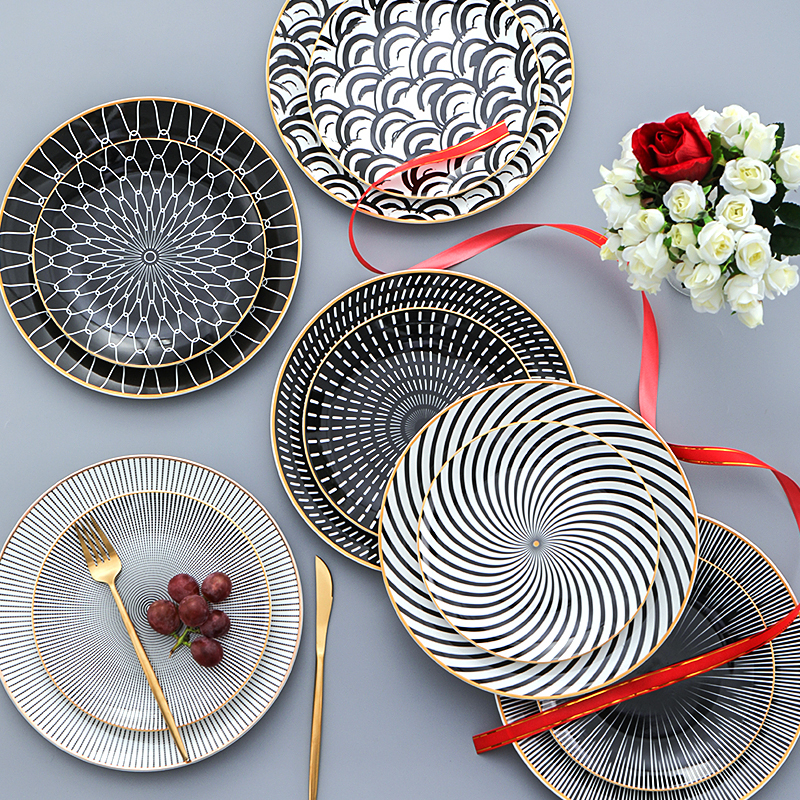 Creative 6inch 8 And 10.5 Geometric Pattern Dinner Plate Set Porcelain