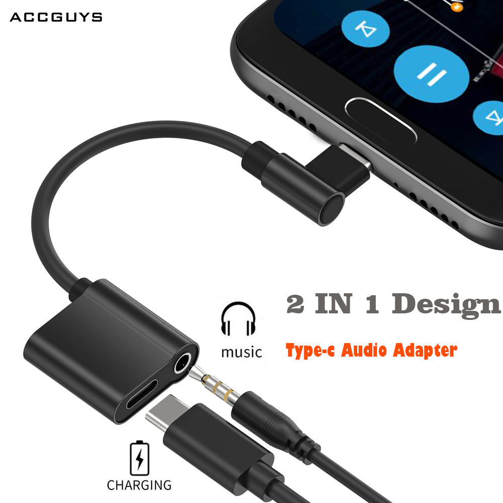 ACCGUYS Type-C Audio Cable Adapter Type C To 3.5mm Jack Earphone Fast Charger Splitter For Moto Z Xiaomi 6 Huawei Mate 10 Pro