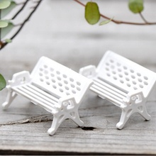 Hot 2 Pcs New White Park Bench Seat Micro Landscape Ecology Accessories Perfect for Any Miniature Garden fairy World Home Decor