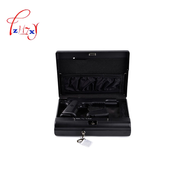 Protable Password Safe Box Solid Steel Security Combination Lock Key Gun Money Valuables Jewelry Box Security Strongbox