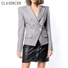 цена на 2019 New Blazer Femme Spring Autumn Elegant Long Sleeve Double-Breasted Women Blazers And Jackets Office Lady Gray Slim Coat