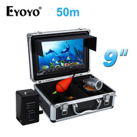 Eyoyo Original Fish Finder HD 1000TVL 50M Sounder For Fishing Full Silver Invisibl Outdoor White LED 9 inch Monitor Video Camera