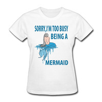 Vrouw Sorry Te Druk Zijnde een Mermaid Beach Lover Cool korte mouw T-shirts novelty Wit