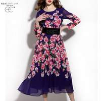 ElaCentelha Brand Dress Summer Women High Quality Chiffon Retro Print Dress Casual Full Sleeve Bodycon New